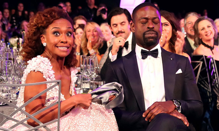Taking a quick cat nap or waiting for his name to be called? Sterling K. Brown and his wife Ryan Michelle Bathe certainly had a lot to celebrate as he did win for Outstanding Performance by a Male Actor in a Drama Series. This was the second time this awards season that the <i>This is Us</i> star made history with his win.