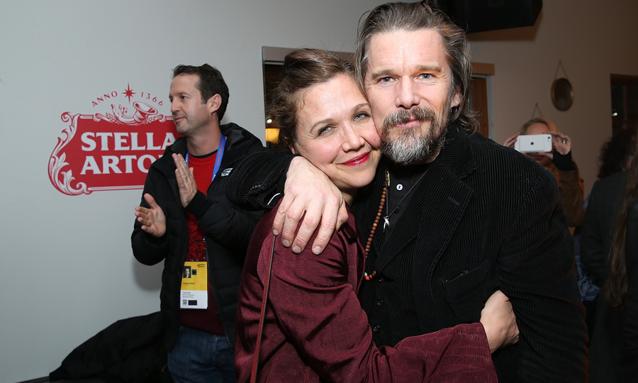 Longtime friends Maggie Gyllenhaal and Ethan Hawke hugged it out at the <i>Blaze</i> cast party in Cafe Artois.