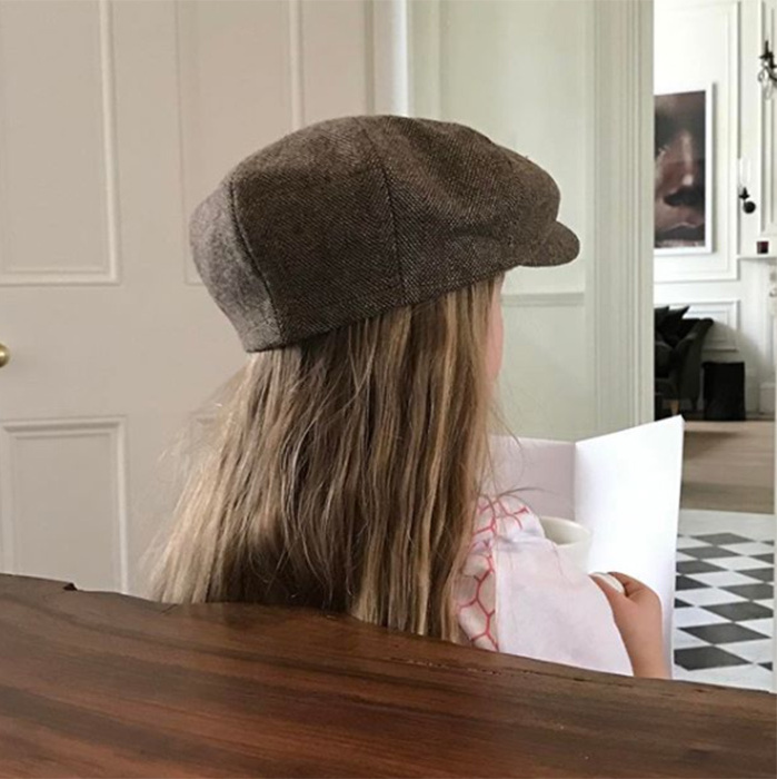 Famous dad David Beckham gave his social media fans a glimpse into his and Victoria's home when he shared this snap of daughter, Harper. The Beckhams live in a classic London home with high ceilings, crown molding and cool, checkered flooring.