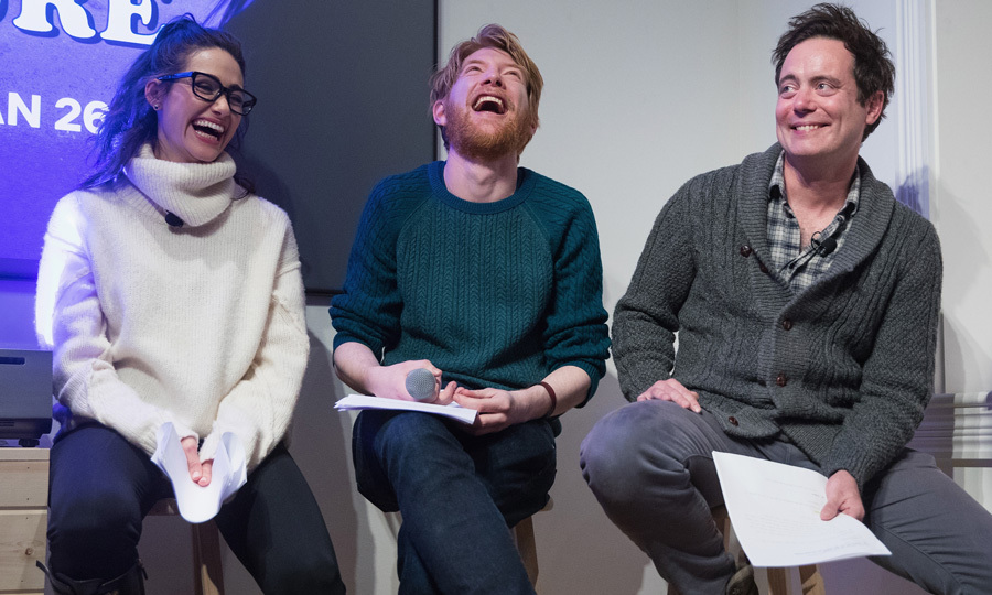 Emmy Rossum, Domhnall Gleeson and Jon Daly from Netflix's upcoming film <i>A Futile And Stupid Gesture</i> performed classic sketches from National Lampoon's Radio Hour in the Dell Den.