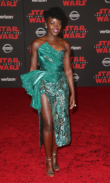 December 2017: The actress wore an asymmetrical green dress by Halpern for the premiere of Disney Pictures and Lucasfilm's <I>Star Wars: The Last Jedi</I> in Los Angeles. 