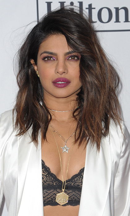 We loved <I>Quanitco</I> star Priyanka's choppy waves – a nod to the 'bed head' that went perfectly with her pajama-inspired ensemble! The star rocked the fun look at the Clive Davis and Recording Academy Pre-GRAMMY Gala in January 2018.