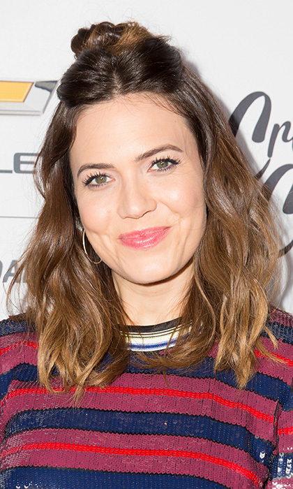 <I>This is Us</I> star Mandy Moore wore this sweet half updo to the Create & Cultivate 100 event in January 2018 in Culver City, California. 