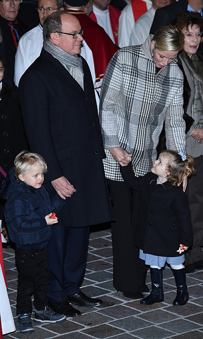 The Monaco royal family – Prince Albert, Princess Charlene and their children Prince Jacques and Princess Gabriella – were matching in dark neutrals as they attended the ceremony of Sainte-Devote. 