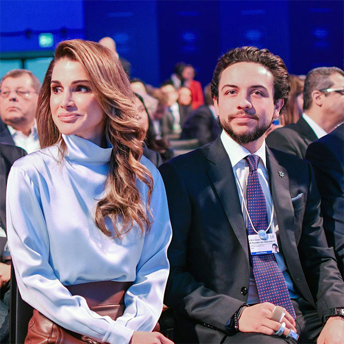 Queen Rania was totally radiant, sitting alongside her son Al Hussein bin Abdullah II. The mother-son duo were present to watch King Abdullah II's interview with CNN's Fareed Zakaria at the World Economic Forum Annual Meeting in Davos.