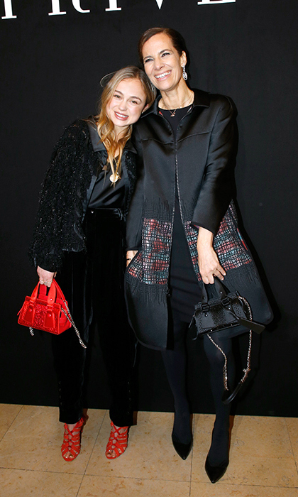 Lady Amelia of Windsor stopped for a photo with the equally chic Roberta Armani while attending the Armani Privé Haute Couture show in Paris on January 23.