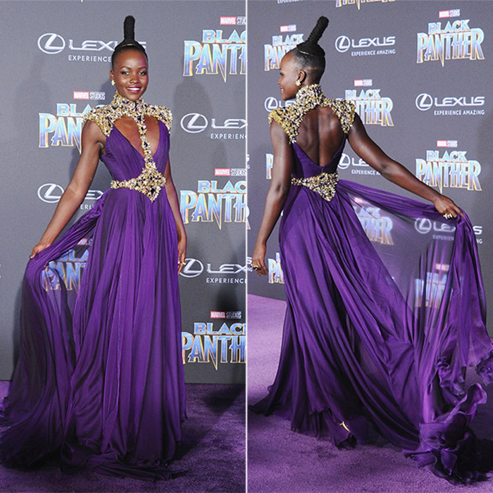 Lupita Nyong'o did not disappoint at the world premiere of Marvel Studio's <i>Black Panther</i> at Dolby Theatre in Los Angeles. The star looked like a true red carpet warrior queen in a purple Versace gown with gilded armor details and Beladora vintage jewelry.