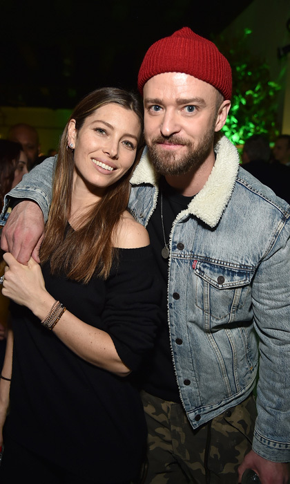 Justin Timberlake previewed his upcoming album Man of the Woods with Jessica Biel by his side in NYC . The singer, who first played every song, danced with his wife and mingled with friends and fans at the American Express-hosted party.