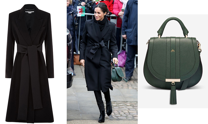 Meghan was looking elegant as she stepped out in Cardiff, Wales with Prince Harry on January 18. The former stunned photographers and the waiting crowd in a Stella McCartney coat, and green tote bag by DeMellier London, which was a nod to the host country's flag. 