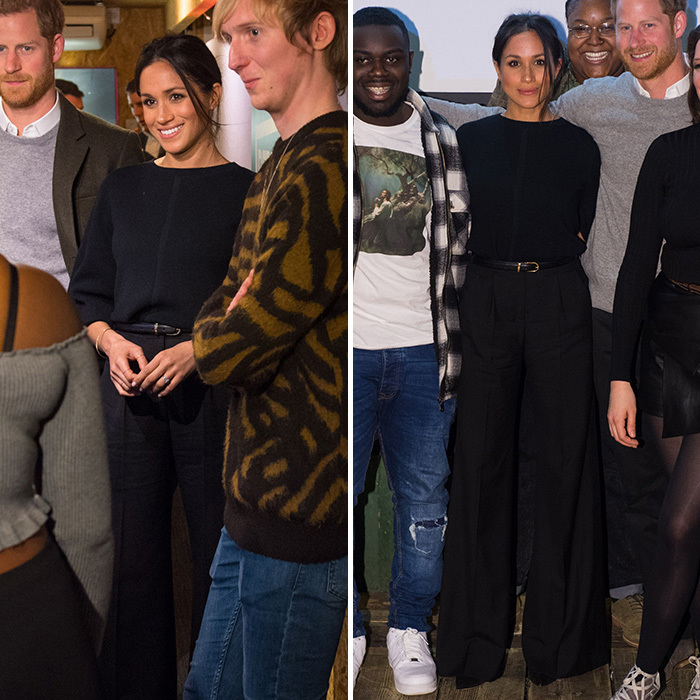 When she shed her coat inside, she revealed she was wearing her signature neutrals – an all black outfit that included a long-sleeved top and black wide-leg trousers by Burberry.