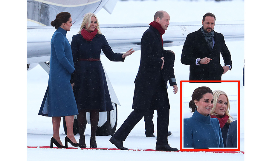 "After a delay because of the weather, Prince William and Kate Middleton made it to Oslo from Stockholm to continue the <a href=""https://us.hellomagazine.com/fashion/12018013125738/kate-middleton-sweden-norway-royal-tour-fashion""><strong>royal tour of Sweden and Norway</strong></a> that they kicked off on January 30. The royal couple were met by Norway's future King and Queen, Crown Prince Haakon and <a href=""https://us.hellomagazine.com/tags/1/crown-princess-mette-marit/""><strong>Crown Princess Mette Marit</strong></a>. 