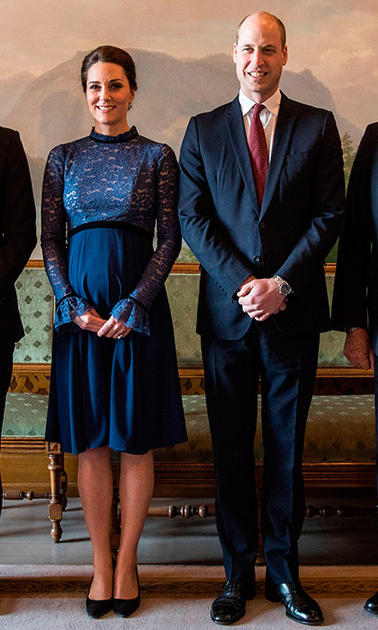 "As the Duke and Duchess made their way indoors, Kate revealed her sweet mom-to-be look: a lace bodice long-sleeved 'Marlene' dress by <a href=""https://us.hellomagazine.com/royalty/1201511058736/kate-middleton-princess-victoria-royal-fans-of-seraphine-fashion/1/""><strong>royal maternity favorite Seraphine</strong></a>. 