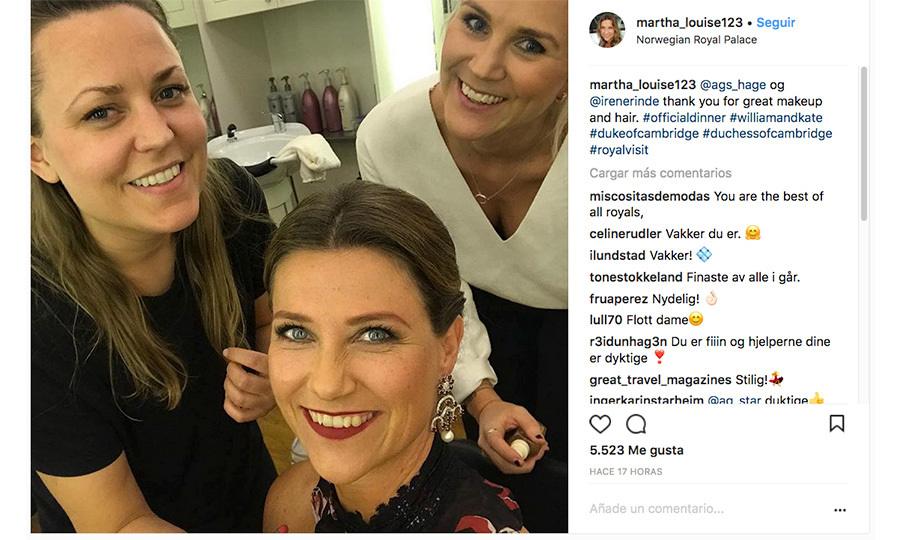 Ever wonder what it is like to prepare for an official dinner with Prince William and Duchess Kate? King Harald of Norway's daughter Princess Martha Louise gave us a glimpse behind the scenes, snapping a selfie with her glam squad during her party prep at the Royal Palace and posting it to Instagram. 