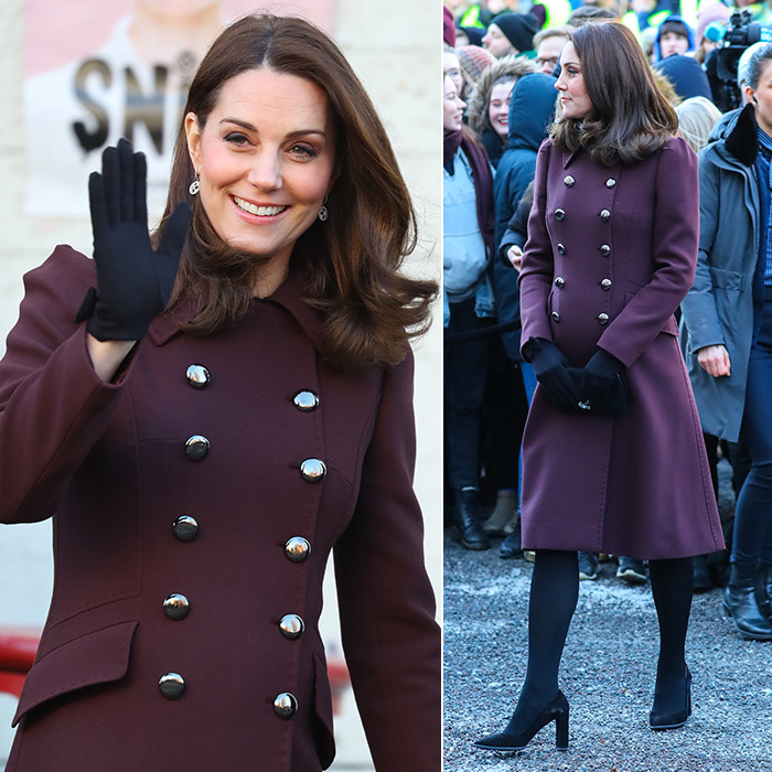 During her royal tour of Sweden and Norway with husband Prince William, Duchess Kate emerged on the last day of the visit wearing a super-chic maroon double-breasted winter coat by the brand. The royal accessorized with black gloves and a Mulberry clutch.