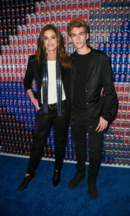 Mom-son duo Cindy Crawford and Presley Gerber looked sharp at the Pepsi Generations Live Pop-Up on February 2 in Minneapolis.