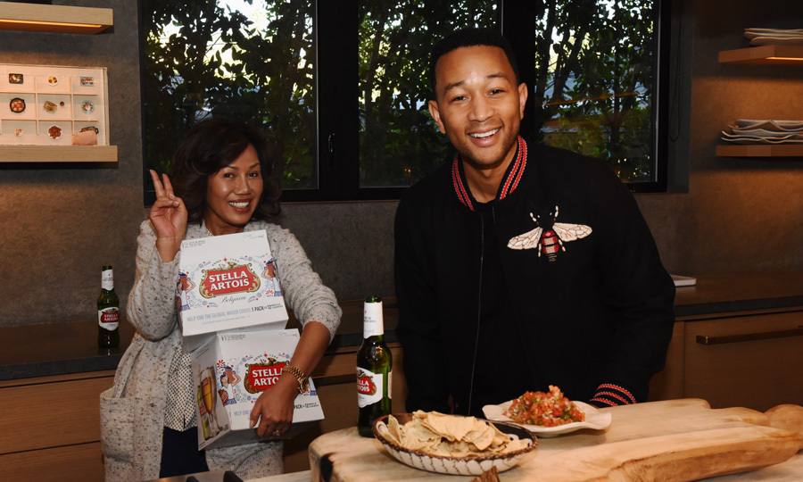 John Legend and his mother-in-law Pepper got the party started early prior to the Super Bowl with Stella Artois.