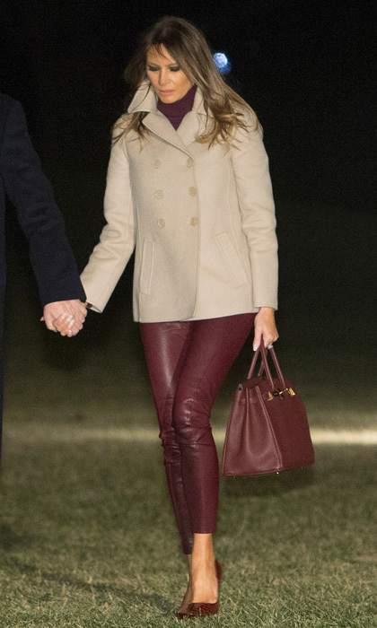 The first family returned to the White House on January 1 after enjoying their stay in Palm Beach, Florida for the holidays. For her first D.C. look of the year, Melania donned a $3,980 tailored Bottega Veneta peacoat and Helmut Lang leather trousers and carried an Hermès Birkin bag. 