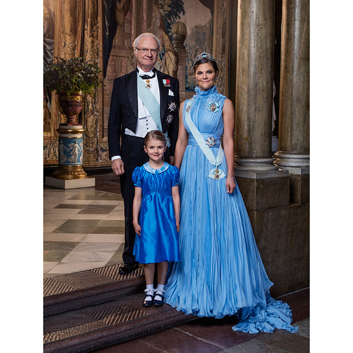 Three generations of Sweden's monarchs, present and future, co-star in this stunning just-released portrait snapped the same day as Stockholm's Nobel Prize Banquet in December 2017. In it King Carl XVI Gustaf stands alongside his heir, Crown Princess Victoria and second-in-line, his granddaughter Princess Estelle.