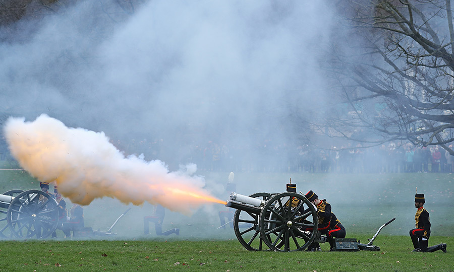 Members of the King's Troop Horse Artillery fired a 41-gun salute in London's Green Park on February 6 to honor the 66th Anniversary of Queen Elizabeth II's accession to the throne. The Queen herself marked the occasion, which also is the anniversary of her father King George VI's death, privately at Sandringham.