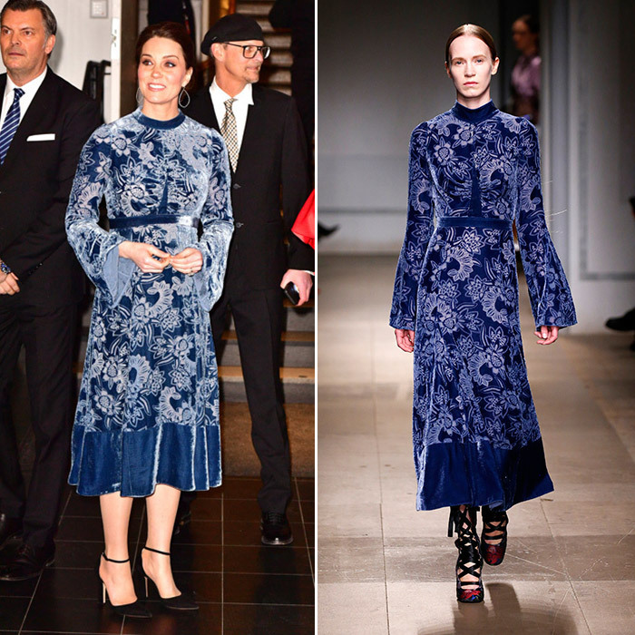 Kate Middleton wore one of her favorites, Erdem, while in Norway. The royal donned the 'Christina' Devore Velvet Midi Dress - part of the designer's A/W 17 runway collection.