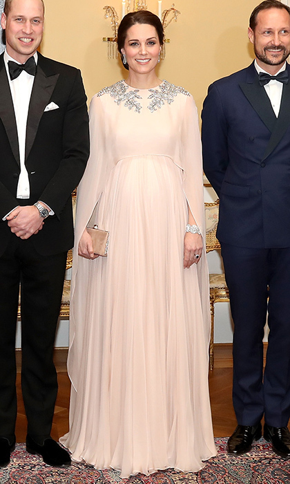 For the black tie affair, the pregnant Kate Middleton was ethereal in an Alexander McQueen gown with metallic embroidery. Her jewels included a diamond bracelet that was a wedding gift from her grandmother-in-law Queen Elizabeth.