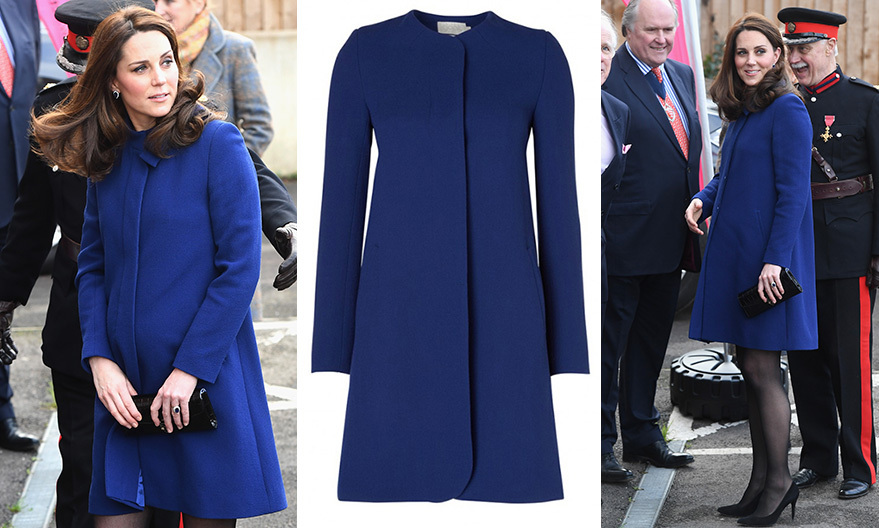 The Duchess of Cambridge stepped out in style on February 7 as she paid a visit to Wickford, Essex to officially open a new community center as patron of Action to Addiction. Perfectly coordinating her coat to her iconic sapphire engagement ring, the Duchess opted for GOAT's Ellroy coat in Marine, which sells for $730, plus a pair of high heels and her signature clutch bag. 