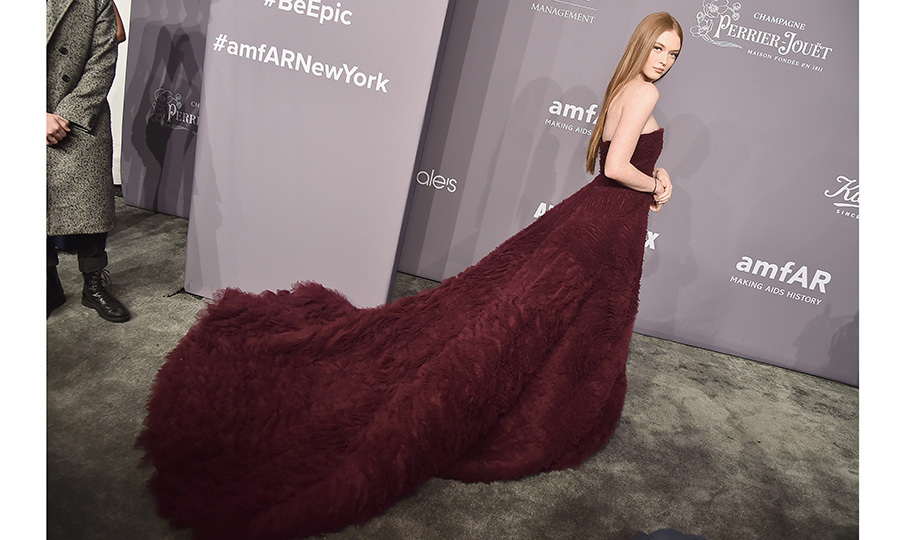 Actress, model and dancer Larsen Thompson wore one of the most dramatic gowns of the night – a wine-hued creation with glamorous train. 