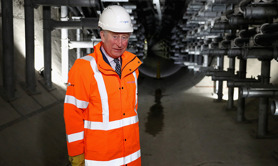 Britain's Prince Charles donned a hardhat and safety jacket to officially open the The National Grid's London Power Tunnels project at the National Grid Substation, Seven Sisters Road, in London on February 7.