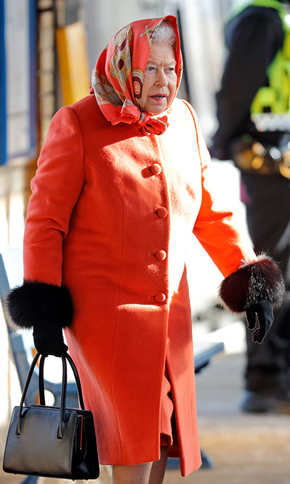 All aboard! A stylish Queen Elizabeth II was seen at King's Lynn Station ready to take the train back home to London from Sandringham on February 7.