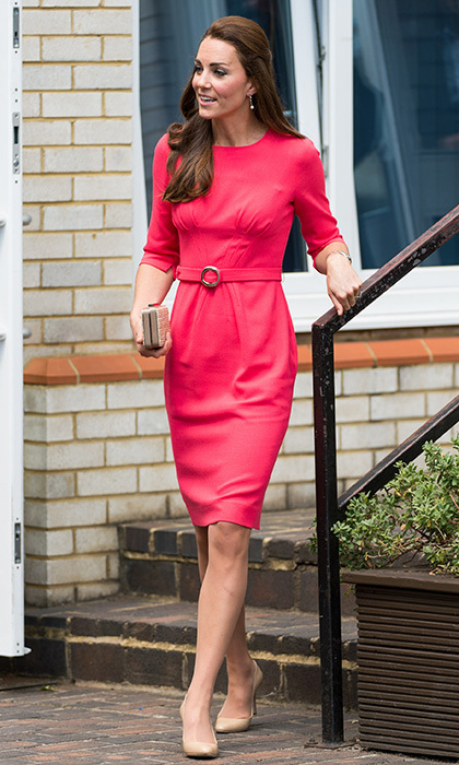In July 2014, the Duchess Of Cambridge opted for a red belted dress by the brand, worn with nude Jimmy Choo heels and an LK Bennett box clutch, as she visited the M-PACT Plus Counseling program at Blessed Sacrament School in London.