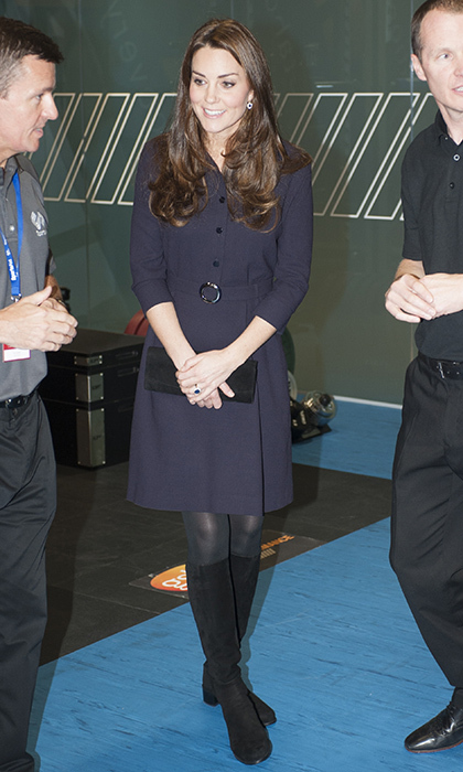 In November 2014, the Duchess of Cambridge embarked on a royal engagement at a SportsAid workshop in West London wearing a wool crepe 'Vreeland' shirtdress by Goat. 