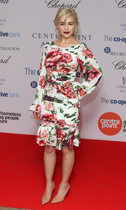 "Emilia Clarke looked ready for spring in <a href=""https://us.hellomagazine.com/tags/1/dolce-and-gabbana/""><strong>Dolce & Gabbana</strong></a> as she joined Prince William at the Centrepoint Awards held at Kensington Palace on February 8.