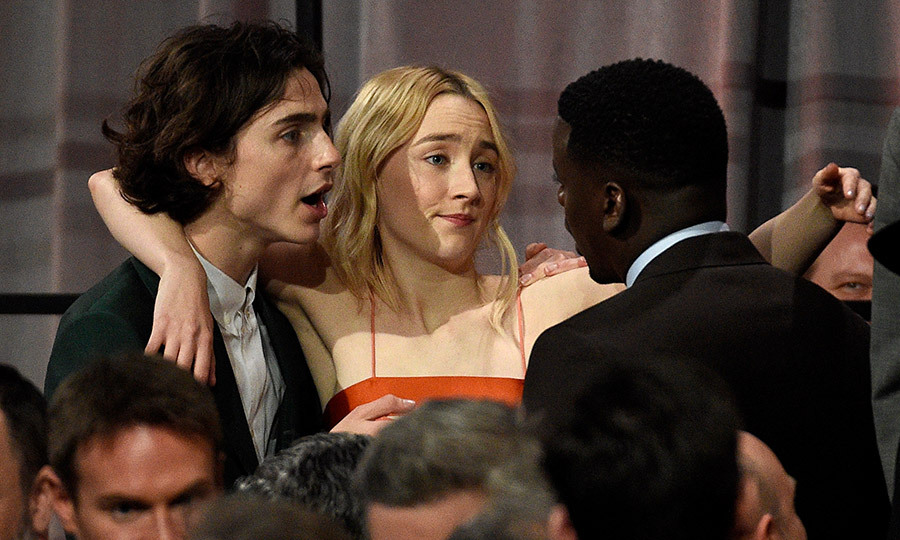 Oscar nominees Timothee Chalamet, Saoirse Ronan and Daniel Kaluuya did some bonding at the 90th Annual Academy Awards Nominee Luncheon at The Beverly Hilton Hotel on February 5.