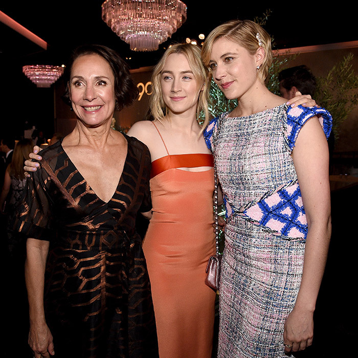 Saoirse Ronan joined her fellow <I>Lady Bird</I> nominees – best supporting actress nominee Laurie Metcalf and best director nominee Greta Gerwig – for a snap at the 90th Annual Academy Awards Nominee Luncheon.