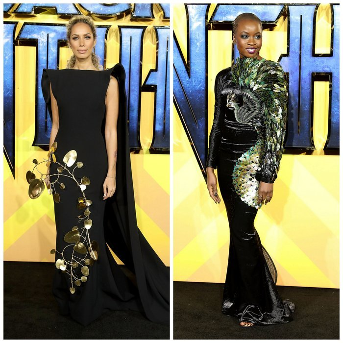 The <I>Black Panther</I> premiere in London was definitely one for dramatic haute couture looks. Singer Leona Lewis wore a caped gown embellished with gold 3D tree details by Stephane Rolland, left, and the film's co-star Danai Gurira dazzled in the 'Phoenix' dress by Jean Louis Sabaji, lavishly adorned with 380 mother-of-pearl ornaments, 2,000 iridescent sequins and 3,000 Swarovski crystals.