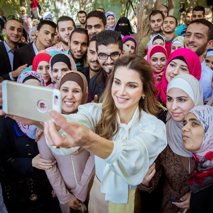 Queen Rania of Jordan snapped a selfie with students at the launch of the Queen Rania Teacher Academy's pre-service professional diploma program.