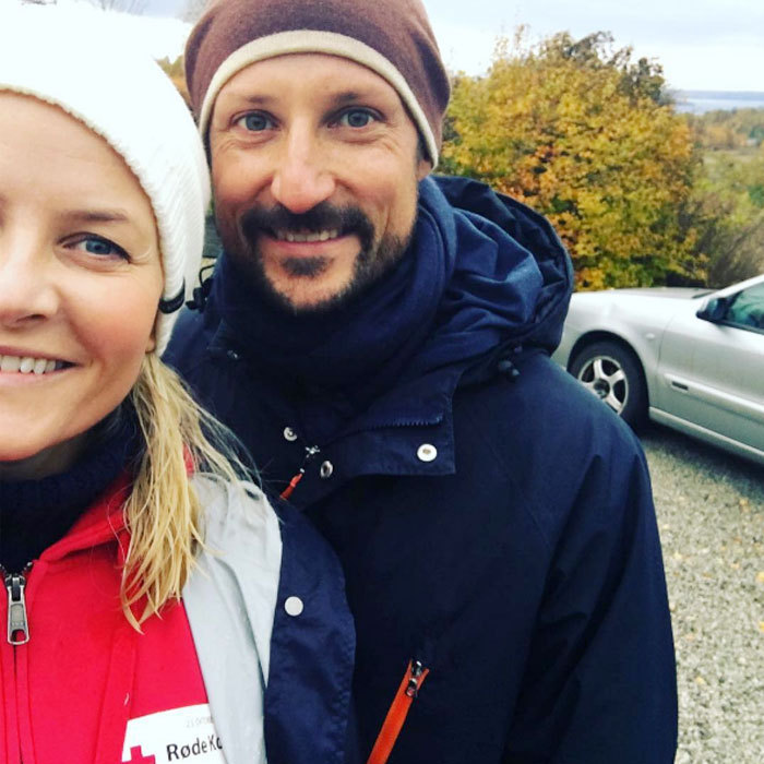 "Crown Princess Mette-Marit snapped a selfie with her ""heartthrob,"" husband Crown Prince Haakon of Norway, while out raising money for the Norwegian Red Cross.
