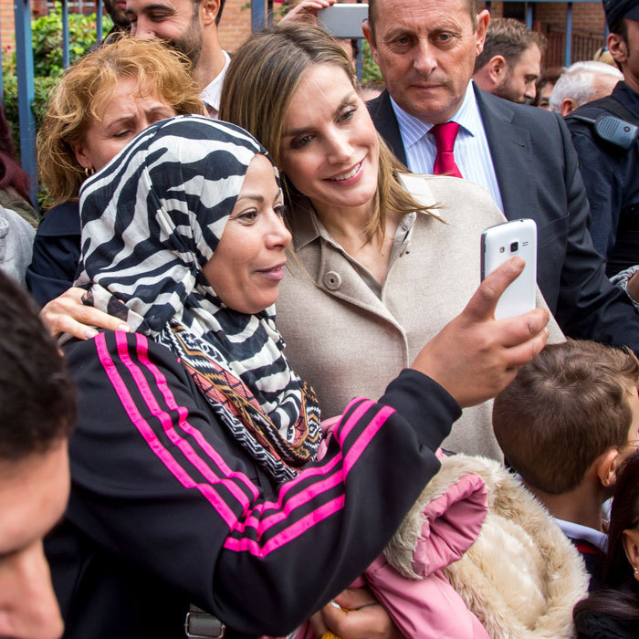 Queen Letizia posed for a selfie after attending the Spain National Confederation of Mental Health in Madrid.