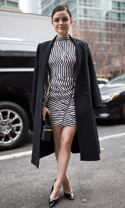 "<I>Pretty Little Liars</I> star <a href=""https://us.hellomagazine.com/tags/1/lucy-hale/ ""><strong>Lucy Hale</strong></a> was attending her first-ever New York Fashion Week. She wore a black and white striped dress with a zip detail for the Self-Portrait show.