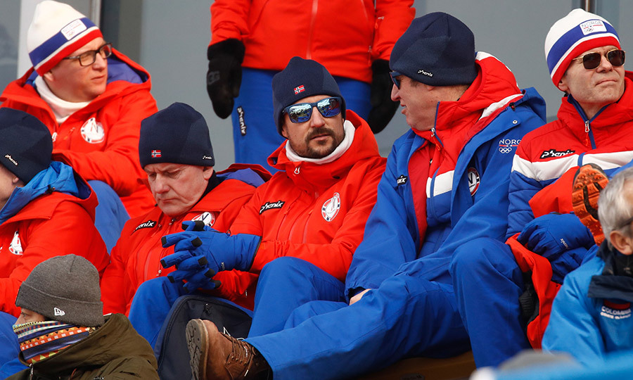 It looked like Prince Haakon of Norway was having a boys' day out in the stands, watching a men's ski jumping competition at the 2018 Winter Olympics in Pyeongchang.