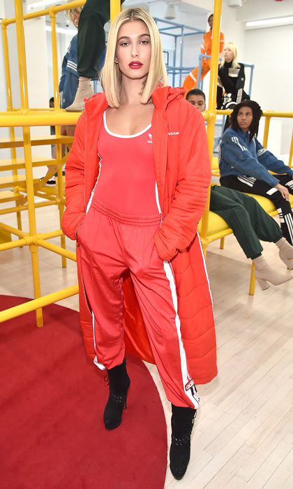 Hailey Baldwin was the lady in red at a presentation for Adidas Originals by Danielle Cathari on February 8.