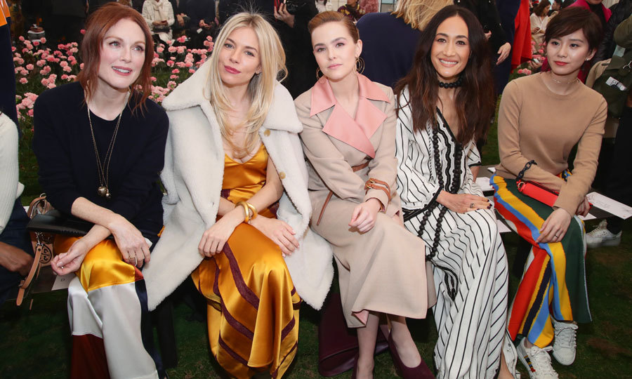 Julianne Moore, Sienna Miller, Zoey Deutch, Maggie Q and Liu Shishi were rays of sunshine in the front row at Tory Burch's colorful presentation.