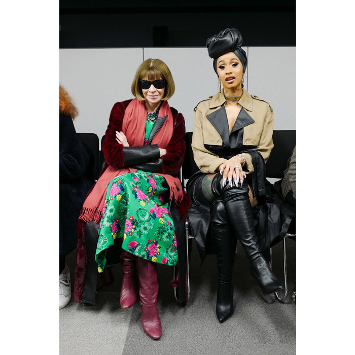 Anna Wintour sat next to Cardi B at Alexander Wang's Fall 2018 Runway Show x Fiji Water. The duo were on hand to attend the designer's last show at fashion week.