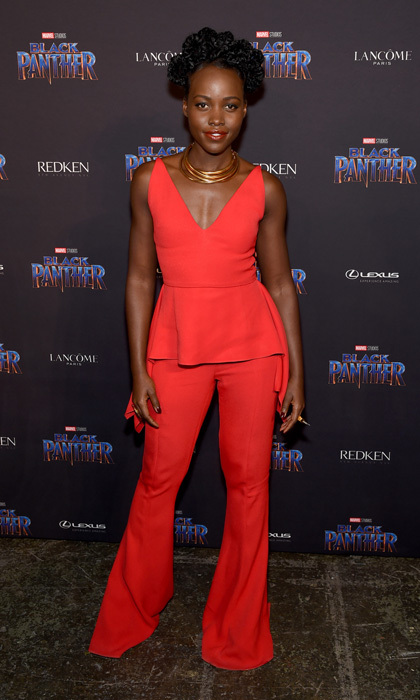 "Lupita Nyong'o looked red hot at Marvel Studios' Black Panther ""Welcome to Wakanda"" New York Fashion Week Showcase at Industria Studios.