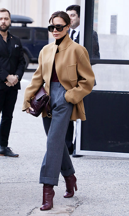Designer Victoria Beckham showed off her posh street style as she took to the street of New York City on February 8.