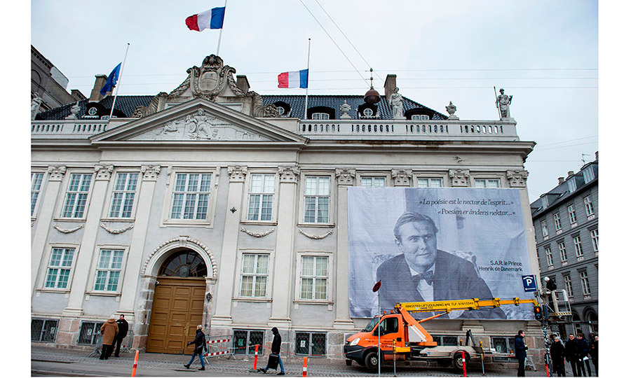 A giant portrait of Prince Henrik is seen hanging from the facade of the French Embassy in Copenhagen. Aristocrat Prince Henrik was born Henri Marie Jean André Greve de Laborde de Monpezat on June 11, 1934, in Talence, a suburb of Bordeaux.