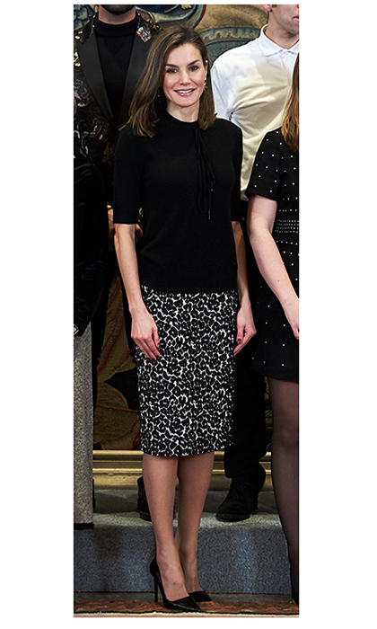 Queen Letizia showed her wilder side in an animal print pencil skirt at the Tomas Salcedo awards at the Zarzuela Palace on February 9.
