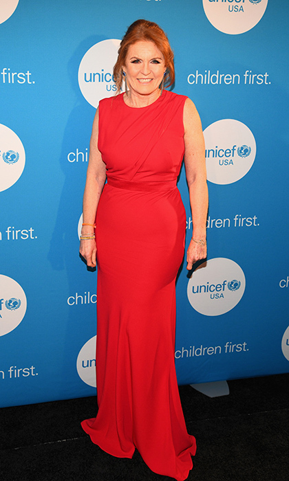 Sarah, Duchess of York looked romantic in vibrant red as she attended the UNICEF Gala at The Ritz-Carlton in Dallas, Texas.