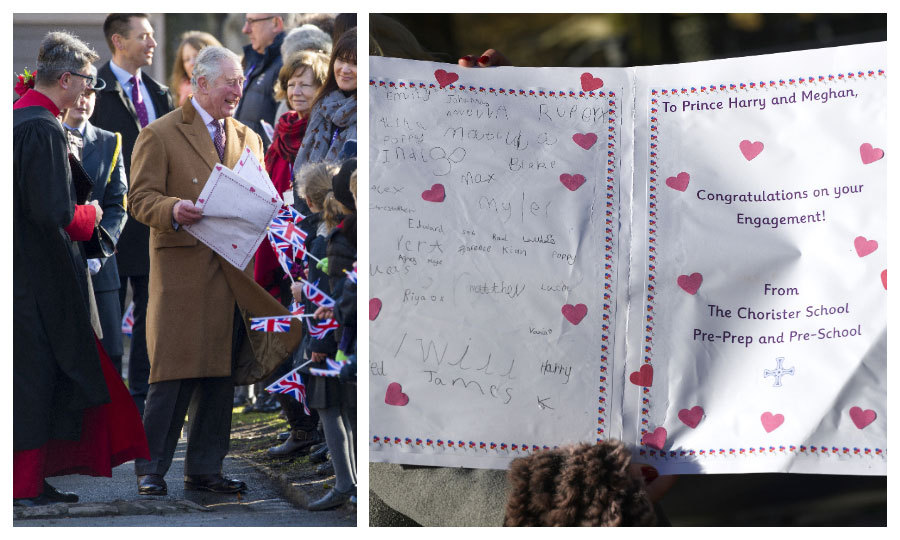 "Prince Charles was delighted to received an engagement card for his son Prince Harry and future daughter-in-law Meghan Markle during his engagement in Durham on February 15. The heart-covered card, presented to the future King by students of the Chorister School, read: ""Congratulations on your engagement.""