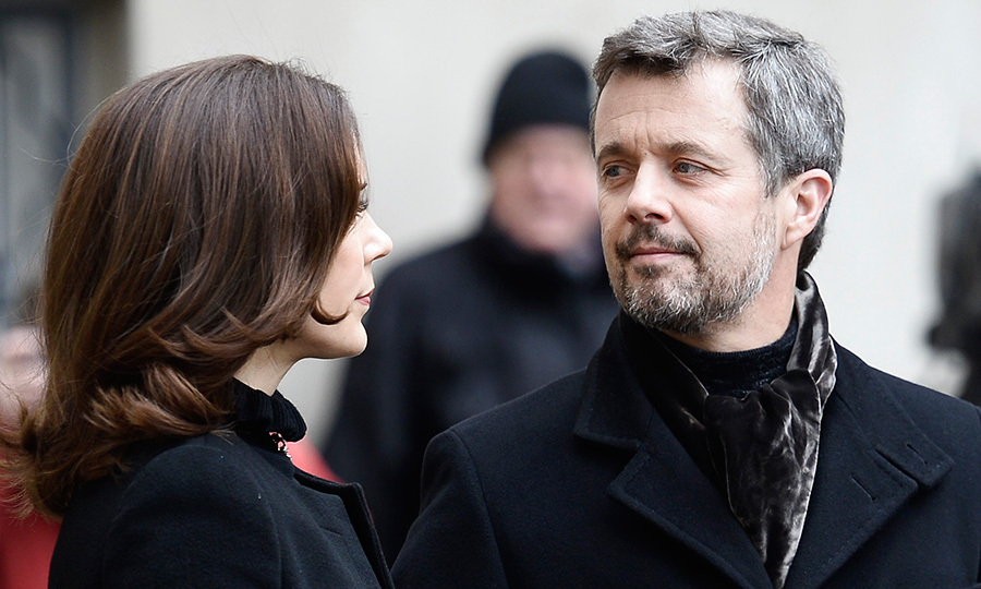 On February 17, Denmark's future king, Crown Prince Frederik, shared a moment with his wife Crown Princess Mary at the Christiansborg Palace Church in Copenhagen, where his late father Price Henrik was lying in <I>Castrum Doloris</I>. 